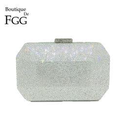 Wholesale Bling Diamond Purses - Boutique De FGG Sparkling Bling Silver Crystal Evening Bags Women Fashion Minaudiere Clutch Wedding Diamond Handbag Bridal Purse