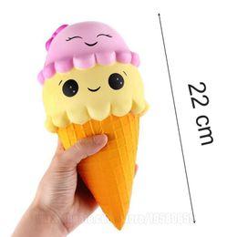 Wholesale Large Charms Wholesale - 22cm Squishy Jumbo Toys Big Squishies Slow Rising Ice Cream Large Perfume Cone DHL Free Shipping SQU054