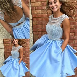 Wholesale Pocket Cocktail Dresses - Sky Blue Homecoming Graduation Dresses 2018 with Pocket Sweet 16 Short A-Line Backless Beads Crystal Prom Cocktail Dresses