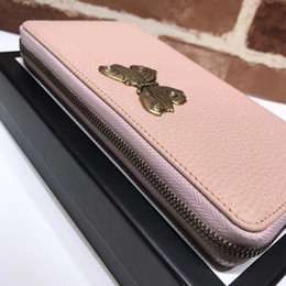 Wholesale Ladies Wallets Butterflies - The new style famous fashion brand women's long purse high quality real leather butterfly studded dinner package delivery box and Dust bag