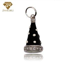Wholesale Pandora Hat - 925 Sterling Silver Pandora Charm with Conical hat Enamal Charm Fit Pandora Bracelet & Bangle And Necklace P2223
