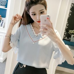 Wholesale Lace Butterfly Sleeve Top - New Women Short Sleeve Patchwork Lace Chiffon Shirt 2018 Summer Fashion Tops Butterfly Sleeves Lace Blouse V-Neck Ladies Blouses
