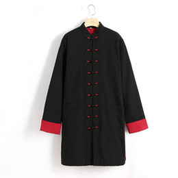 Wholesale Chinese Cotton Padded - Black Chinese Men Cotton Linen Lengthen Wadded Coat Plus Size 4XL Kung Fu Clothing Winter Thick Cotton-Padded Long Jacket