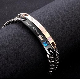 Wholesale Woman Love Drops - DIY Her King His Queen Couple Bracelets with Crytal Stone Lover Crown Charm Bracelets For Women Men Drop Shipping B443