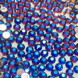 Wholesale Crystal Stones Hotfix - Crystal Rhinestones Blue Rainbow Non Hotfix For Nails Art Decoration SS3-SS30 Flatback Glue On Strass Stones DIY Crafts Garments