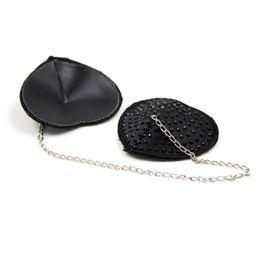 2019 cadena del pecho pezón 1 par de tapones negros para pezones sexy / Bow + Chain / Reutilizable Breast Wear / Productos sexy para mujeres / Juego para adultos rebajas cadena del pecho pezón