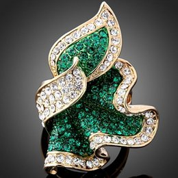 Wholesale Party Boutique Wholesale - Diamond Ring Leaves Ring Boutique Fashion Luxury Ladies 18k Jewelry Accessories 3Color & 4Size