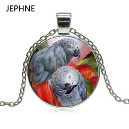 Wholesale Parrot Glass - whole saleJEPHNE New Congo African Red Tail Grey Parrot Pendant Necklace Glass Cabochon Xmas Bird Gift Jewellery for Women