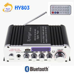 Wholesale 12v mini amplifier motorcycle - HY803 Mini Amplifier Car Amplifier Bluetooth Amplifier 40W+40W FM MIC MP3 for Motorcycle Car Home use Support AC 220V or DC 12V input