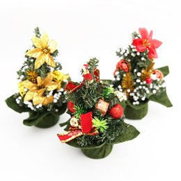 Wholesale Christmas Pine Decoration - QuickDone Mini Christmas Trees Xmas Decorations Ornaments 20CM Small Pine Tree Placed In The Desktop Festival Home Party MR0113