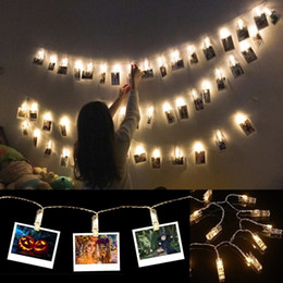 Pinturas led online-10 LED Foto Foto Clips Luces de la cadena Decoración de la pared Luz Fiesta de Navidad Luces de la decoración del hogar para colgar Fotos Pinturas Pictu