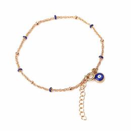 Encanto dorado online-OJO MALO Nueva moda pulsera de aleación de oro para la joyería de la muchacha 4 colores ojo malvado encanto pulsera de cadena mejor regalo para los amantes