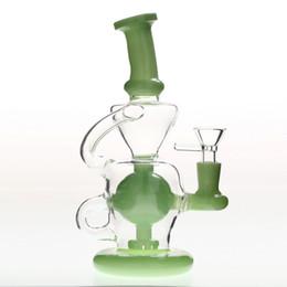 Два мяча онлайн-Толстые основные зеленые изогнутые шеи стекло Бонг буровые установки с чашей ресайклер мяч Percolatos курение барботер трубы две функции кальяны
