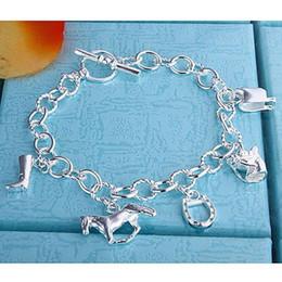 Wholesale Horse Hooves - Wholesale- Bracelet horse hoof jewelry Bracelet with horsebit charms Silver fashionable jewelry Silver Plated Bracelet wholesale gift LH74