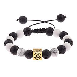 2019 bracelet en or blanc Bracelet de pierre de lave noire Bracelet ajustable pour homme 2018 Bracelet de chakra doré argent 8mm Bracelet de perles blanc ABK029 bracelet en or blanc pas cher