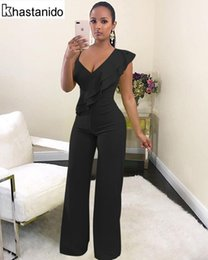 3dd68c53d85 Sexy Deep V Neck Ruffle Wide Leg Jumpsuit Women Rompers Elegant Casual  Loose Overalls Black White Red Party Club Jumpsuit