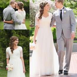 Wholesale cheap informal wedding dresses - A-Line Lace Tulle Beach Modest Wedding Dresses 2018 Short Sleeves Cheap Simple Summer Garden Informal Reception Bridal Gowns Mature Bride