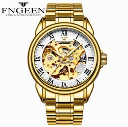 роскошные часы из чистого золота Скидка FNGEEN мужские золотые часы с автоподзаводом скелет часы 5ATM водонепроницаемые твердые из нержавеющей стали наручные роскошные механические Relogio