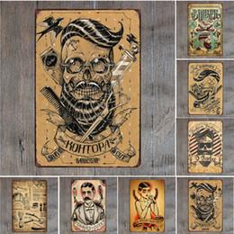 vintage katzenmalerei Rabatt Friseurladen Rasiert Katze Retro Blechschild Vintage Handwerk Blechschild Retro Metall Malerei Poster Bar Pub Wandkunst