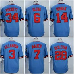 Wholesale Kirby Puckett Jersey - Vintage Men's Minnesota #2 Brian Dozier #3 Harmon Killebrew #6 Tony Oliva #7 Joe Mauer #14 Kent Hrbek #34 Kirby Puckett Baseball Jerseys