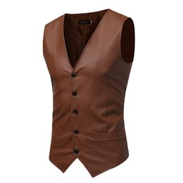 Wholesale Sleeveless Leather Jacket Mens - PU Leather Vests For Men Slim Fit PU leather Mens Suit Vest Male Waistcoat Gilet Homme Casual Sleeveless Formal Business Jacket
