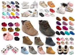Wholesale Leather Baby Crib Shoes - Soft Sole Leather Moccasins Moccs Baby Booties Toddler Tassel Shoes Crib Shoes Prewalker Baby Sport Sneakers 300 styles for choose