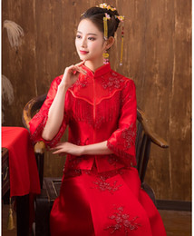 Wholesale wedding womens clothing - Traditional Show New spring summer clothes bride wedding Gown Robe Chinese style wedding dress show red Hot Womens Cheongsam