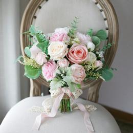 Nuevo Champagne Pink Bridal Holding Broche Bouquet 2020 Rose Seda barata Decoración de boda Artificial Dama de honor Dama de honor Decoración desde fabricantes