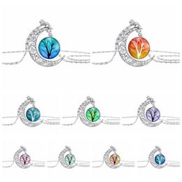 Wholesale Tree Pendant Men Women - Wholesales Tree of Life Time Gemstone Chokers 4*3.5cm Hollow Moon Pendants Designer Women Men Necklaces Jewelry as Gifts