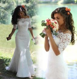 Full Lace robes de mariée sirène Pays Bateau Demi-manches à lacets balayage train Pays robes de mariée pour la mariée, plus la taille ? partir de fabricateur