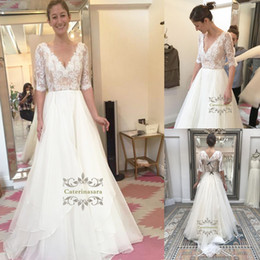 Wholesale Crystals Drop Waist Wedding Dresses - Gorgeous Tulle & Lace Natural Waist 3 4 Sleeve V Neck A Line Wedding gowns with Rhinestones Wedding Dresses