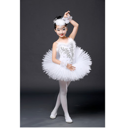 Traje de cisne online-Nueva bailarina profesional Tutu Ballet niños con lentejuelas trajes de la bailarina Kids White Swan Lake Costume Girls Ballet Dress