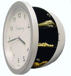 Wholesale Plastic Wall Box - Modern Round Safe Clock Multi Function Jewelry Storage Box Wall Clocks Simple Hinged Design Timepiece High Quality 17jk B