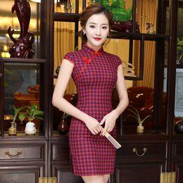 cd25d611d665 biancheria donna xxl Sconti Plaid vintage cinese tradizionale abito donna  estate cotone lino Qipao breve Slim