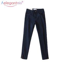 0b543ca64be Aelegantmis Navy Blue Autumn Denim Pants Women 2017 Fall Stretch Pencil Jeans  Female Fashion Skinny Jeans Ankle-length