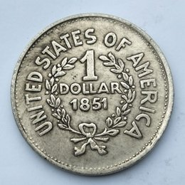 Wholesale Usa Studies - USA Dollar old COPY COINS liberty 1 dollar 1851 antique coins collection copper US coins gift