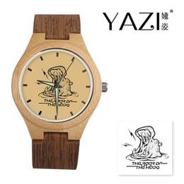holzuhr-logo Rabatt YAZI DIY hölzerne Uhr-Flusspferd-Logo-Quarz passt natürliches Bambusholz-Kasten-Armband-Uhren-Holz-Streifen-Band-Geschenk für Freund auf