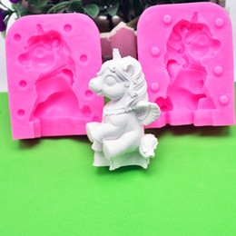 Wholesale Handmade 3d Shape - 3D Unicorn Silicone Cake Mould Fondant Molds Baking Decorating tool Non-Stick Handmade Chocolate Candy Animal shaped Baking Moulds FFA105