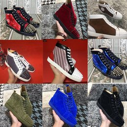 Wholesale Back Bag Kids - Luxury Designer Spikes Sneaker Shoes For louboutin Casual Red Bottom Sneakers Gentleman Designer Party Wedding Dress With Box,Dust Bag