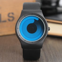 Wholesale Womens Watch New - Creative Mens Watch Cool Blue Ocean Swirl Pointer Leather Analog Quartz Sport Wristwatch Fashion womens Boys New Concept Turntable Clock