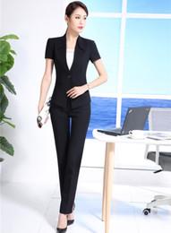 Wholesale Work Uniform Pants - Summer Black Blazer Women Business Suits Formal Office Suits Work Wear Uniforms Ladies Pant and Jackets