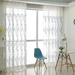 Rideaux de fenêtre de porte de cuisine en Ligne-Rideaux Sheer Floral Rideaux Fenêtre pour Salon Rideaux Chambre pour la cuisine style chinois Tulle pour porte Rideau Window