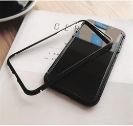 Wholesale Magnet Plastic Cover - Magnet Absorption Aluminum Alloy Metal Frame Magneto Phone Cases For IPhone X 7 8 Plus Anti-Scratch Tempered Glass Back Cover