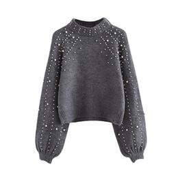 Medias de suéter de punto online-Pearl Beaded Rib Knit Jumper Suéter de invierno Suéteres para mujer Suéter de cuello gris Manga larga Suéter ajustado WG229