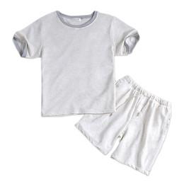Ropa de dormir para hombre pantalones cortos online-Verano 100% algodón blanco pijama corto establece mangas cortas para hombres ropa de dormir informal Homewear pijamas blancos simples Loungewear