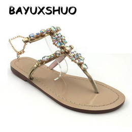 Wholesale roman gladiator sandals men - BAYUXSHUO Summer Style Roman Sandals Women Classic Rhinestones Chains Thong Gladiator Flat Sandals Plus Size Casual Shoes Woman