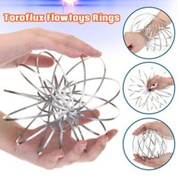 Wholesale move sales - hot sales Funny Toys Xmax gifts metal Toroflux Flow ring Toy Holographic by While Moving Creates a Ring Flow Flow rings DHL