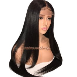 Wholesale glueless remy wigs - Silky Straight Natural Hairline Glueless Swiss Lace Front Lace Brazilian Hair Wig Middle Part Virgin Remy Hair Full Lace Wigs
