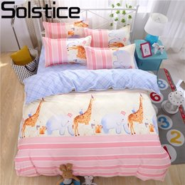 Wholesale Giraffe Crib Bedding - Solstice Home Textile Kids Like Cartoon Giraffe Printing 3 4pcs Bedding Sets Duvet Cover Set Bed Linen Bedclothes Pillowcase