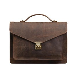 Wholesale Vintage Leather Satchels For Men - Vintage Genuine Leather Handbags Men's Briefcase Top Handle Bags Crazy Horse Leather Shoulder Messenger For Men Male Bag LS0189